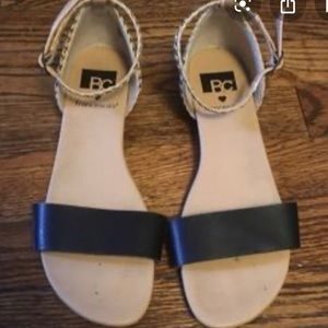 BC SHOES beige and black sandals